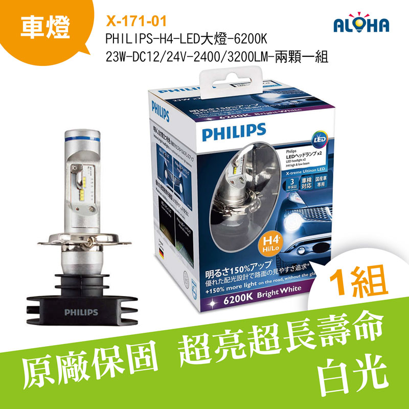 PHILIPS-H4-LED大燈-6200K-23W-DC12/24V-2400/3200LM