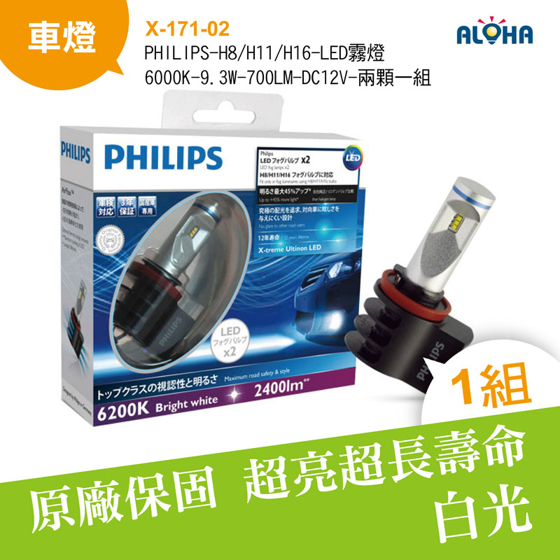 PHILIPS-H8/H11/H16-LED霧燈-6000K-9.3W-700LM-DC12V